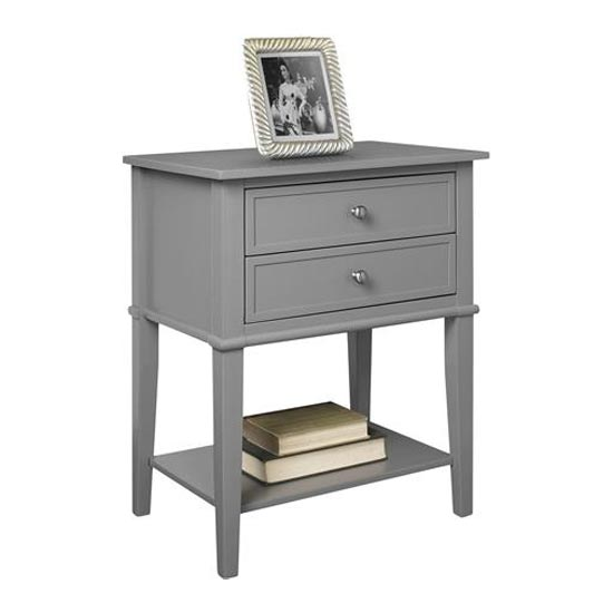 Franklin Wooden Side Table In Grey With 2 Drawers_3