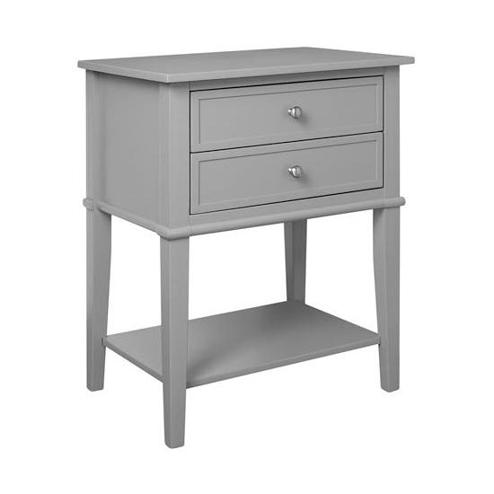 Franklin Wooden Side Table In Grey With 2 Drawers_4