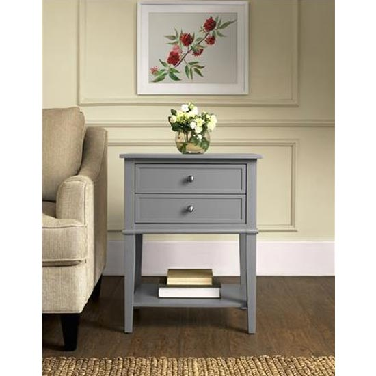 Franklin Wooden Side Table In Grey With 2 Drawers_1
