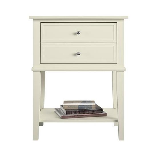 Franklin Wooden Side Table In White With 2 Drawers_4