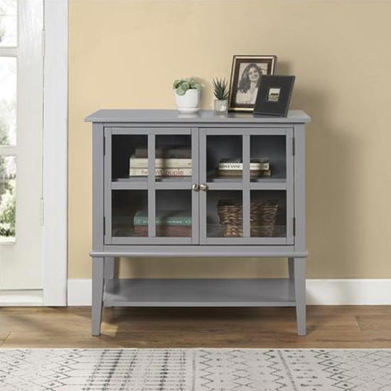 Franklin Wooden Storage Cabinet In Grey With 2 Doors