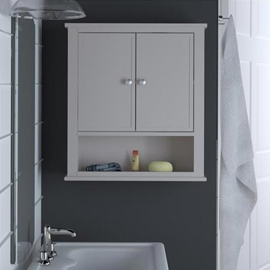 Franklin Wooden Storage Wall Cabinet In Grey