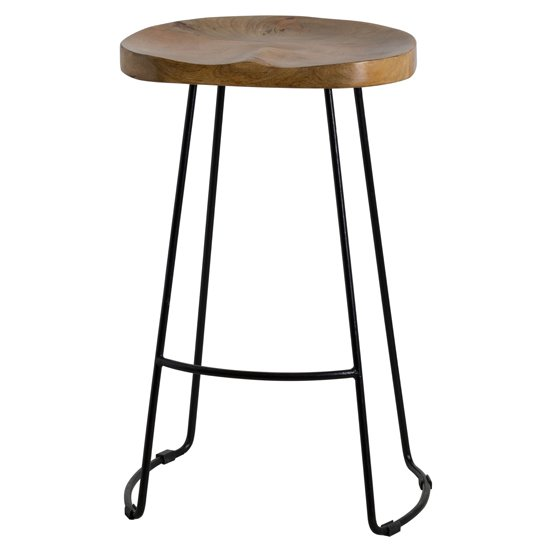 Frankston Wooden Bar Stool In Brown With Black Metal Legs