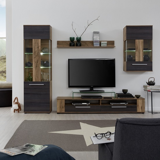 Frantin Living Room Set In Walnut With LED Lighting_2