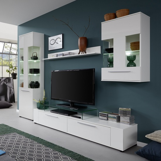 Frantin living room set in white with gloss fronts and led - White gloss living room furniture sets ...