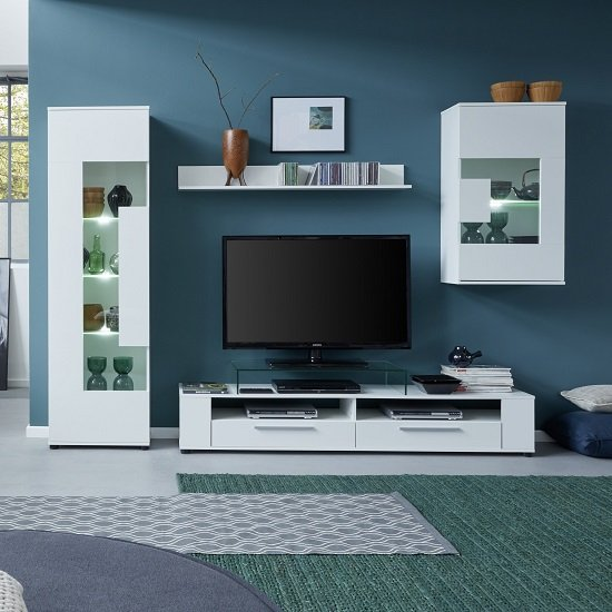 Frantin Living Room Set 1 In White With Gloss Fronts And LED_2