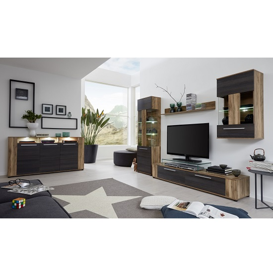 Frantin Contemporary Sideboard In Walnut With LED Lighting_3