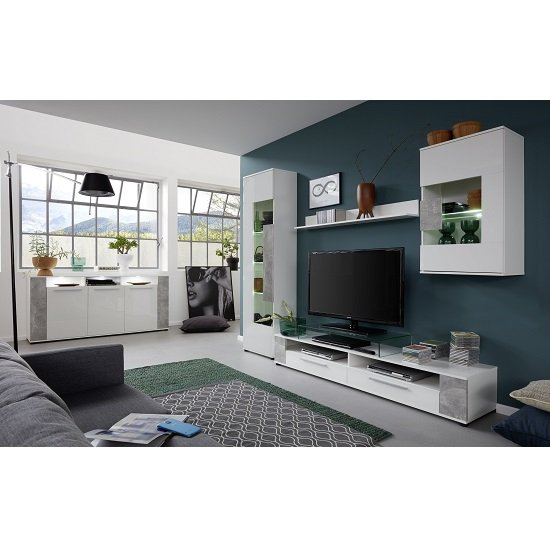 Frantin Living Room Set 1 In White And Gloss Fronts Stone LED_4