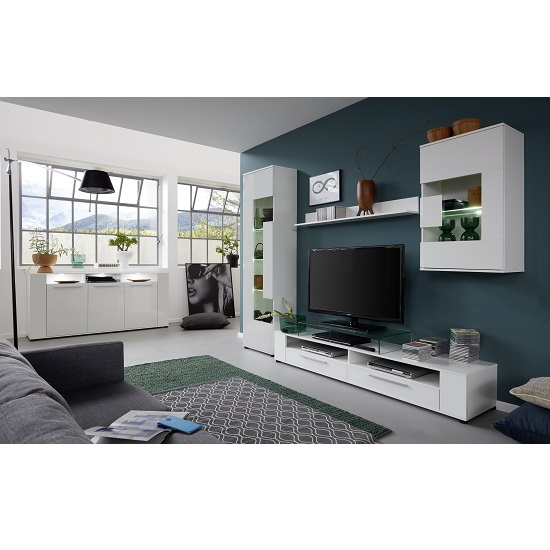 Frantin Living Room Set 1 In White With Gloss Fronts And LED_4