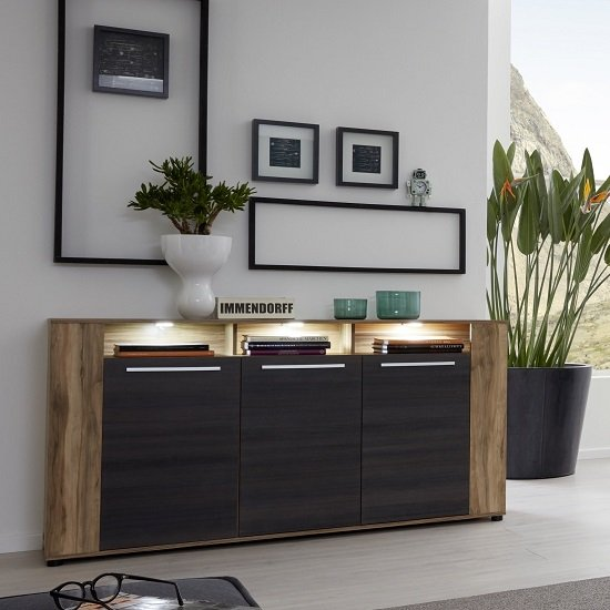 Frantin Contemporary Sideboard In Walnut With LED Lighting_1