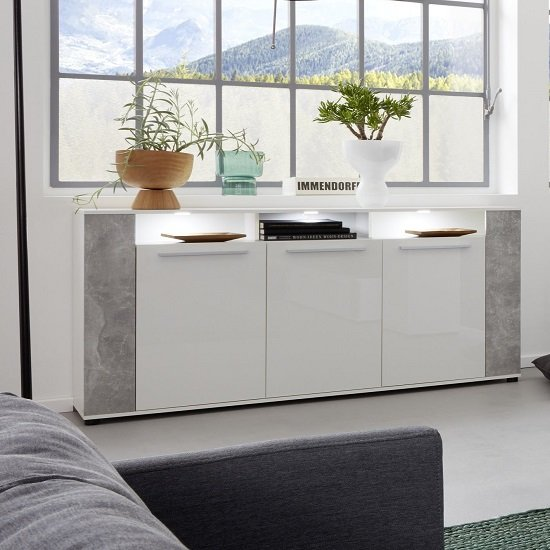 Frantin Sideboard In White With Glossy Fronts Stone And LED