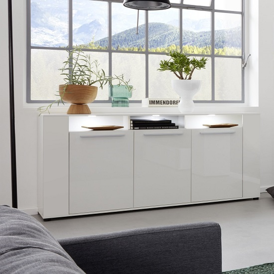 Frantin Modern Sideboard In White With Gloss Fronts And LED