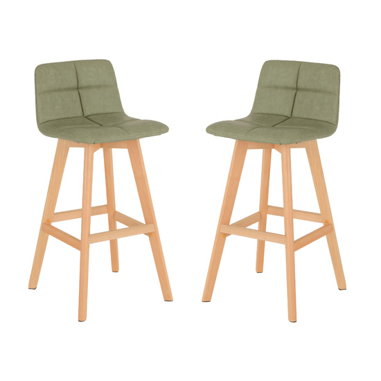 Franza Green Faux Leather Bar Stools In Pair