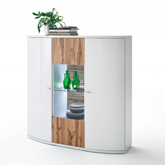 Franzea Display Highboard In White Gloss Fronts And Oak With LED