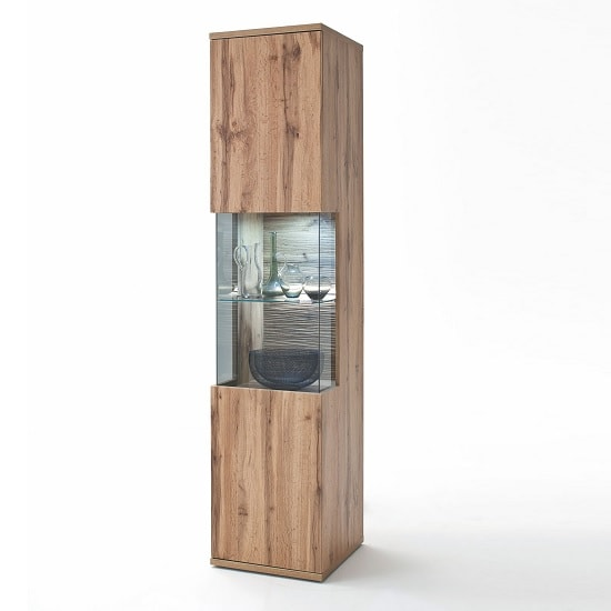 Franzea Wooden Left Display Cabinet In Wotan Oak With LED