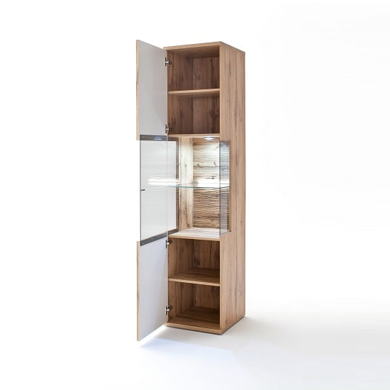 Franzea Wooden Left Display Cabinet In Wotan Oak With LED_2