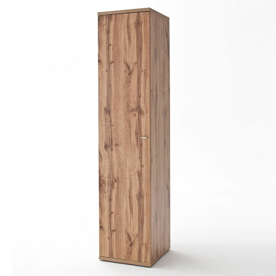 Franzea Wooden Left Tall Storage Cabinet In Wotan Oak