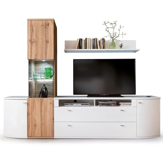 Franzea Wooden Left Display Cabinet In Wotan Oak With LED_4