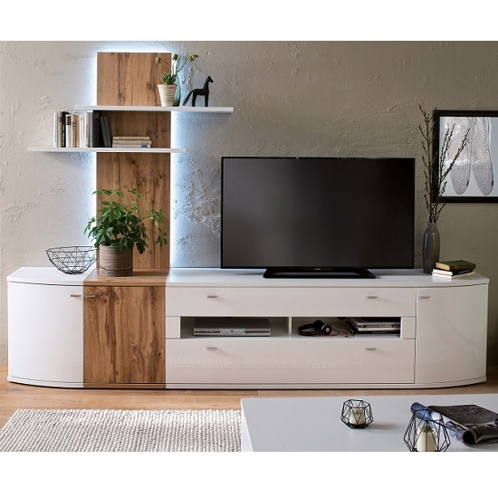 Franzea Wooden TV Stand In White Gloss Fronts With 2 Drawers_3