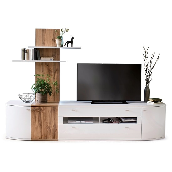 Franzea Wooden TV Stand In White Gloss Fronts With 2 Drawers_4