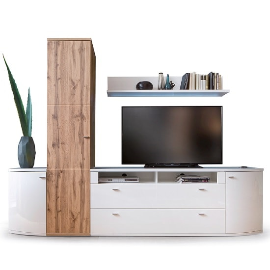 Franzea TV Stand In White Gloss Fronts With 1 Door And 2 Drawers_5