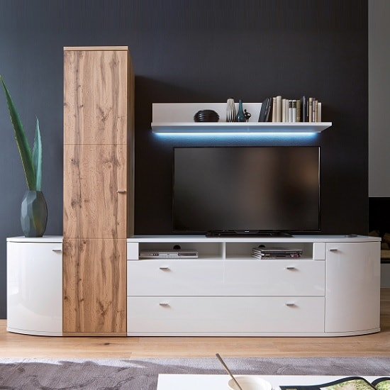 Franzea Wall Shelf In White With High Gloss Fronts And LED_3