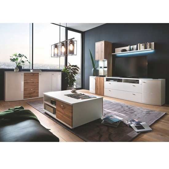 Franzea Wooden Sideboard In White Gloss Fronts And Oak_4