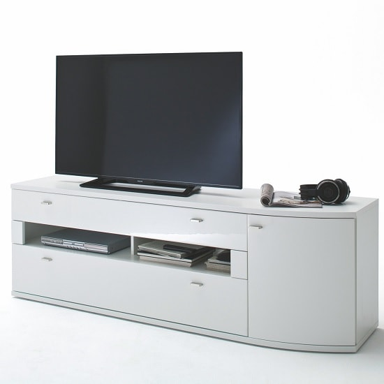 Franzea Wooden TV Stand In White Gloss Fronts With 2 Drawers_1