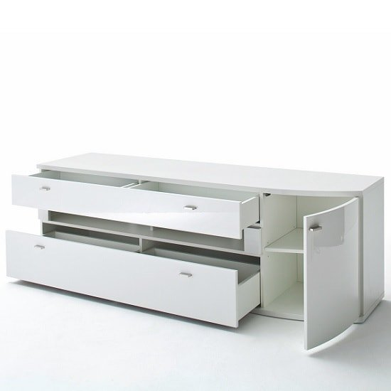 Franzea Wooden TV Stand In White Gloss Fronts With 2 Drawers_2