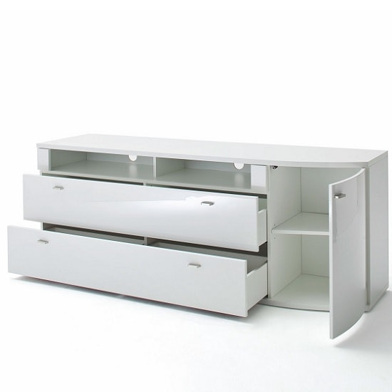 Franzea TV Stand In White Gloss Fronts With 1 Door And 2 Drawers_2