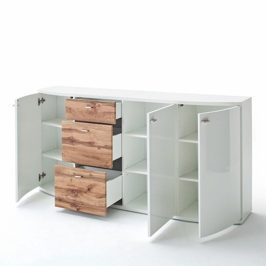 Franzea Wooden Sideboard In White Gloss Fronts And Oak_2