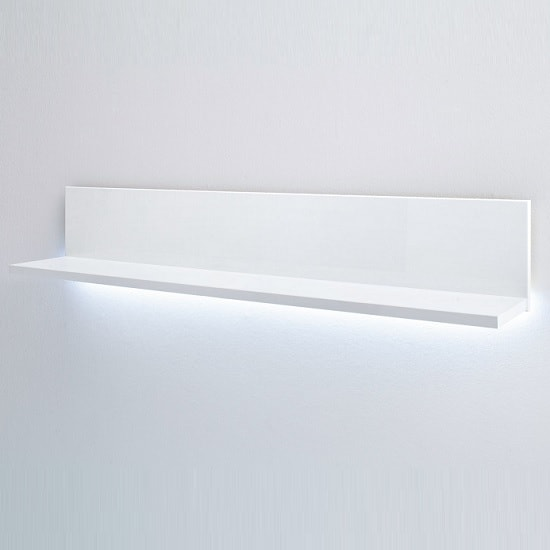 Franzea Wall Shelf In White With High Gloss Fronts And LED