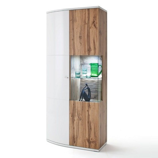 Franzea Wide Display Cabinet In White Gloss Fronts Wotan Oak LED