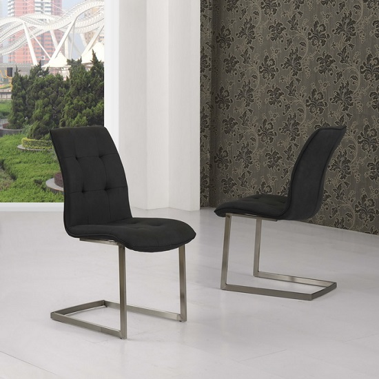 fredo dining chair in black suede effect fabric in a pair