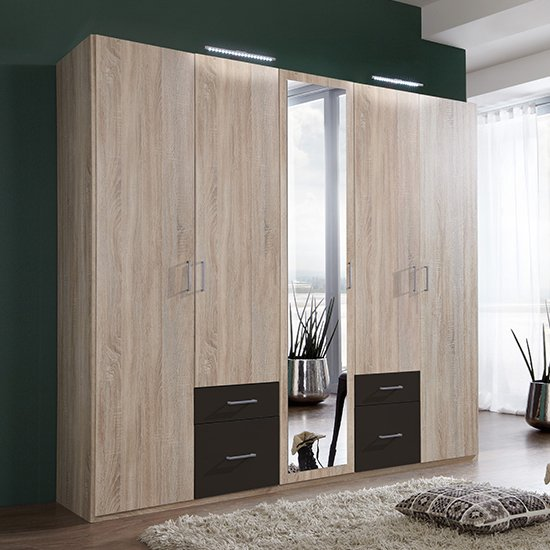 Freiburg Mirrored Wooden Wardrobe In Oak And Graphite