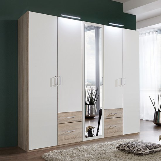 Freiburg Mirrored Wooden Wardrobe In White And Oak