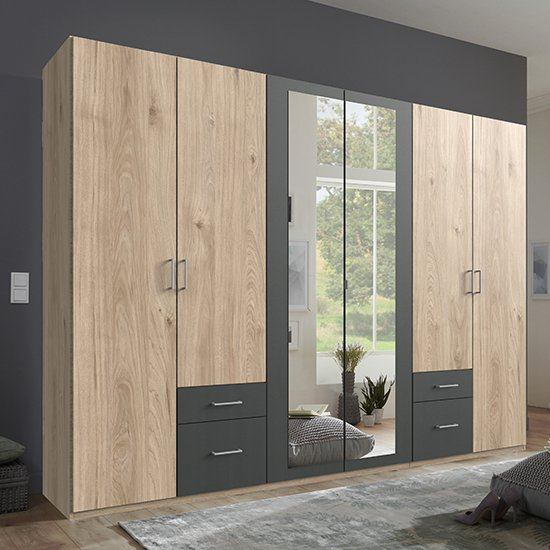 Freiburg Wardrobe In Hickory Oak And Graphite With 2 Mirrors