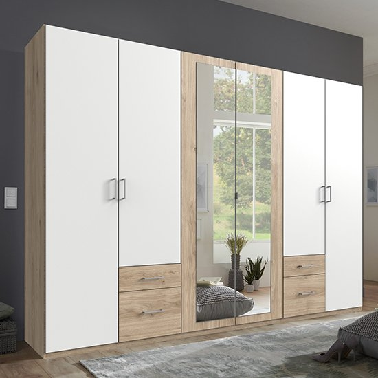 Freiburg Wooden Wardrobe In Hickory Oak And White With 2 Mirror