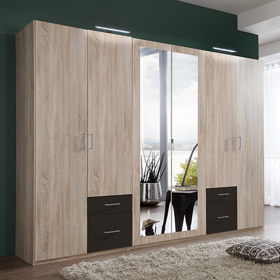 Freiburg Wooden Wardrobe In Oak And Graphite With 2 Mirrors
