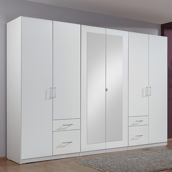 Product photograph showing Freiburg Wooden Wardrobe In White With 2 Mirrors