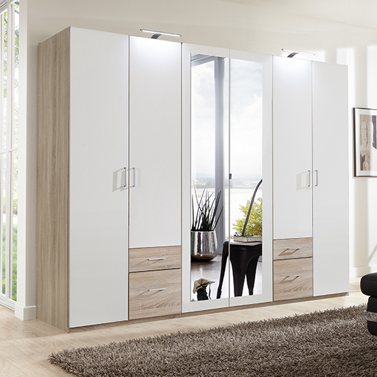 Freiburg Wooden Wardrobe In White And Oak With 2 Mirrors_1