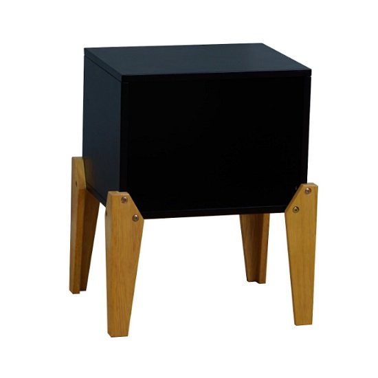 Fremont Contemporary Wooden Bedside Table In Black