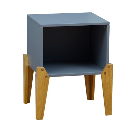 Fremont Contemporary Wooden Bedside Table In Grey