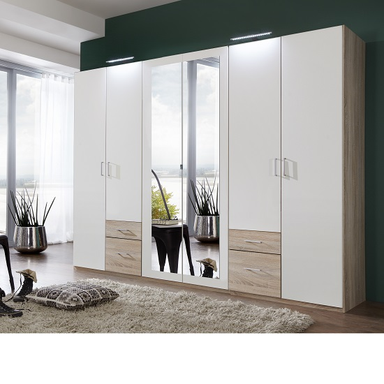 Fresh Wardrobe White Oak 4 Doors 2 Mirror 4 Drawers