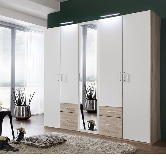 Fresh Wardrobe 4 Doors 1 Mirror Door 4 Drawers