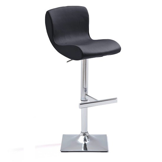 Fresh Bar Stool In Black Faux Leather With Square Chrome Base