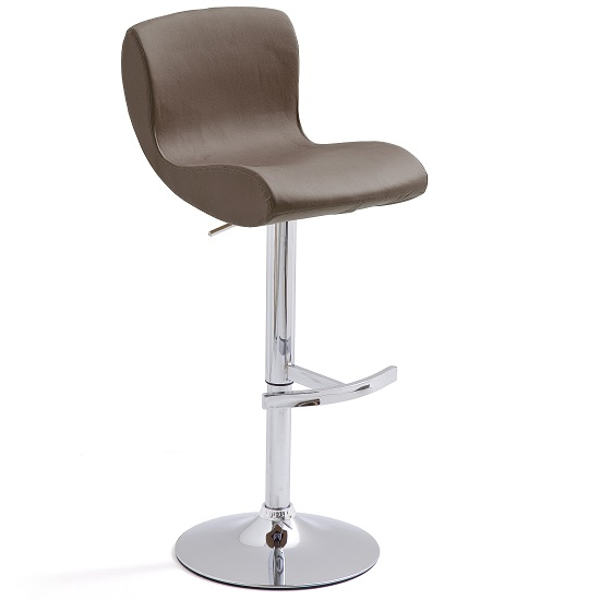 Fresh Bar Stool Brown Faux Leather With Round Chrome Base