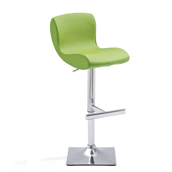 Fresh Bar Stool In Green Faux Leather With Square Chrome Base