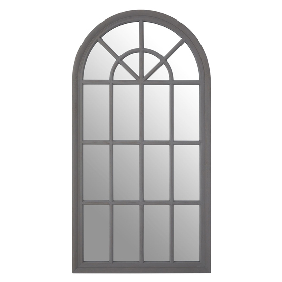 Fresot Curved Window Designed Wall Mirror In Grey