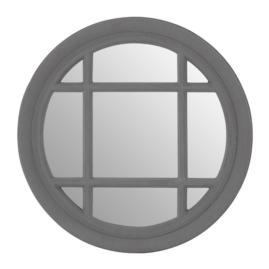 View Fresot round window designed wall mirror in grey
